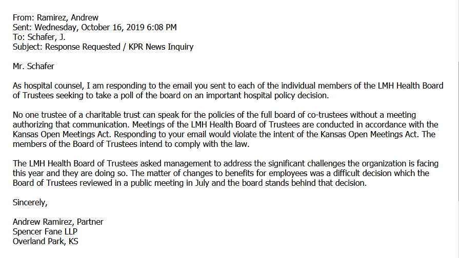 Email response to KPR from the hospital's attorney.