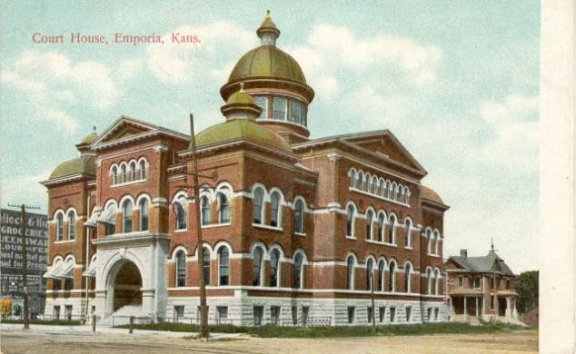 Postcard of the old Lyon County Courthouse in Emporia (circa early 1900s)