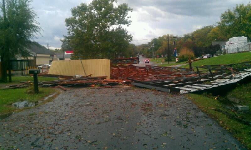 McCray Lumber in northern Lawrence lost a roof.