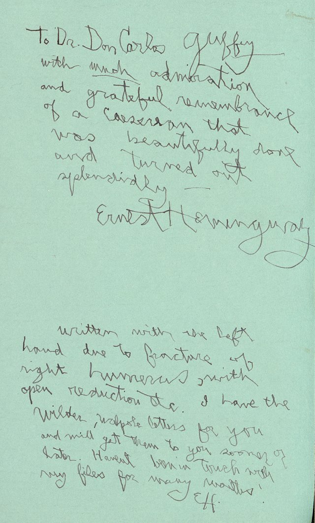 "Hemingway inscribed a note in a 10-copy presentation edition of ""A Farewell to Arms"" for Dr. Don Carlos after the delivery of his son Patrick. (Photo Courtesy of UMKC Library)"