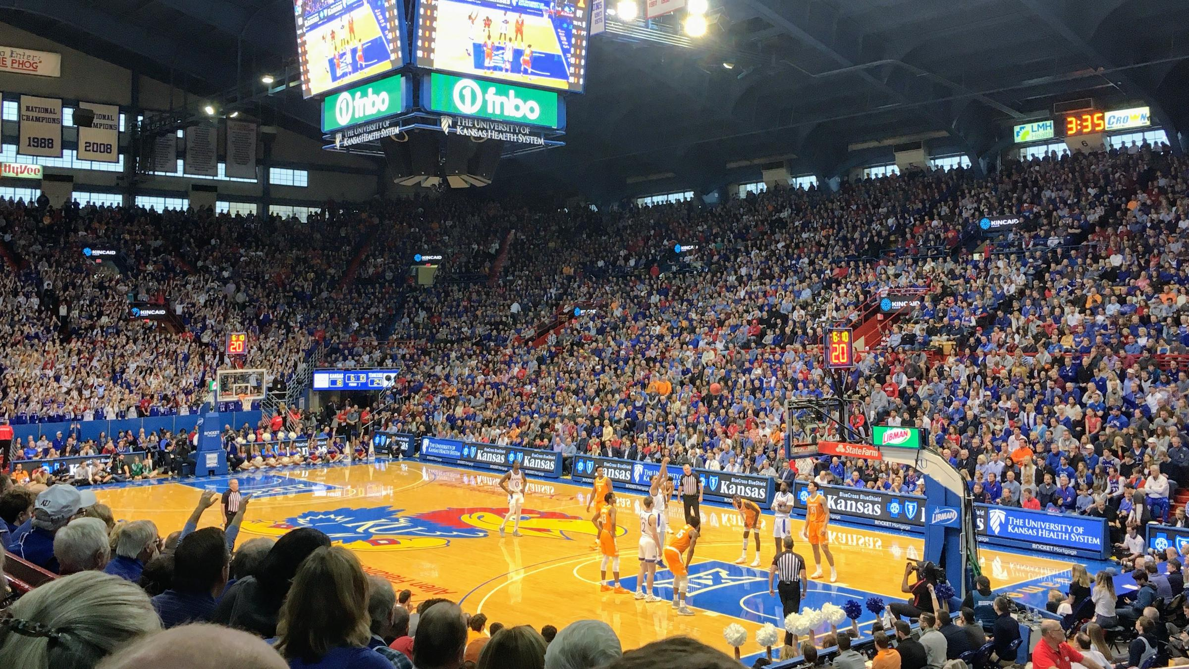 "The Kansas Jayhawks men's basketball team is currently ranked No. 1 in the nation. The school's athletics director says that if other schools have laws about endorsement deals and Kansas does not, KU would be ""at a disadvantage."" (Photo by Erica Hunzinger, Kansas News Service)"