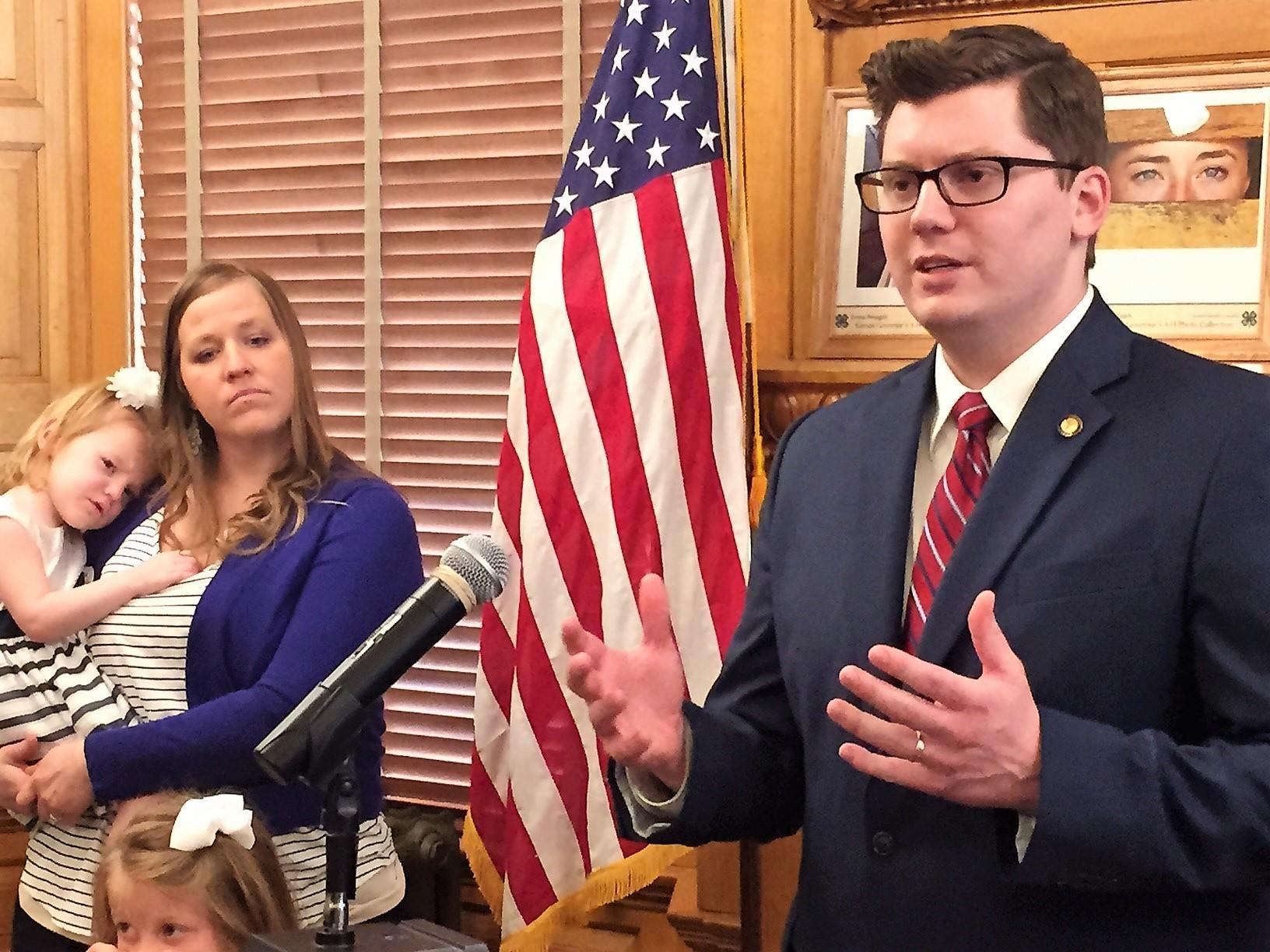 Kansas Treasurer Jake LaTurner is leaving the U.S. Senate race to challenge the 2nd Congressional District incumbent Steve Watkins. (Photo by Jim McLean)