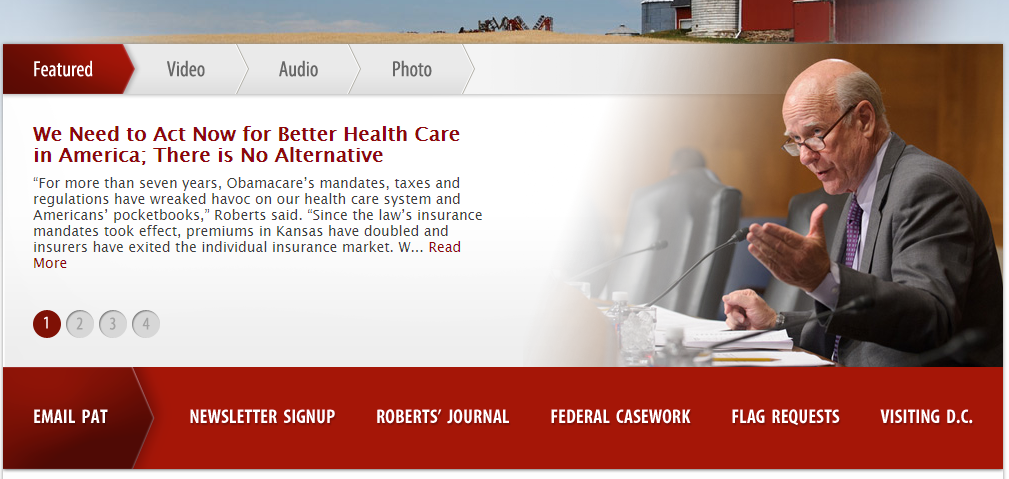 The website of Senator Roberts outlined his support for the bill.