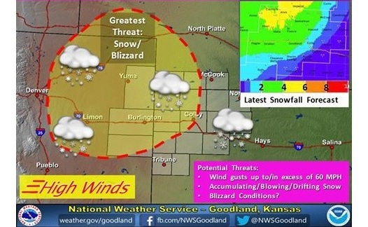 Snow estimates for northwest Kansas in the storm that hit on Tuesday, November 17, 2015 (Image credit: National Weather Service, Goodland, KS)