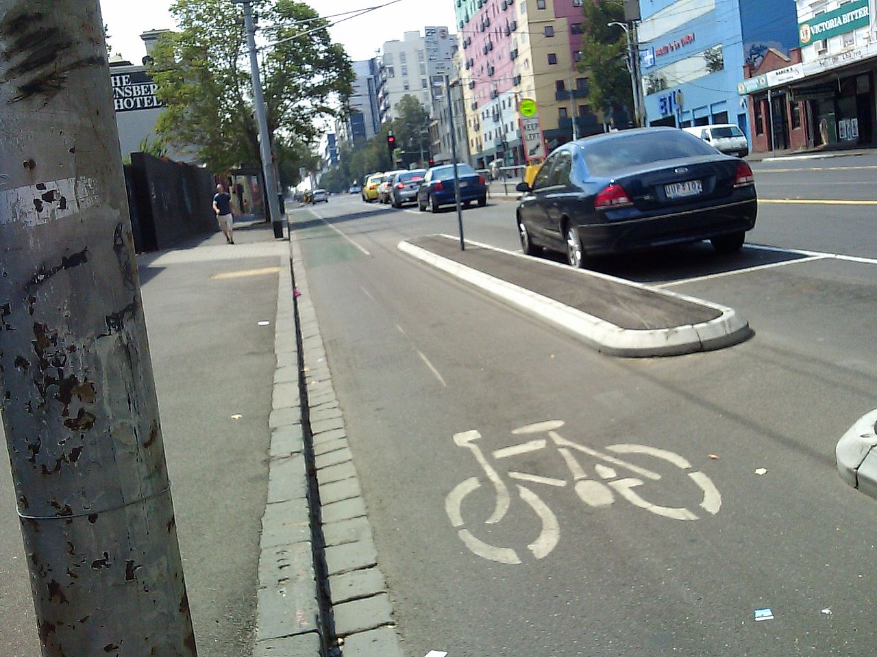 We're not totally sure what the Overland Park bike lanes will look like, but these here in Melbourne, Australia seem nice. (Image credit: Barrylb via commons.wikimedia.org)