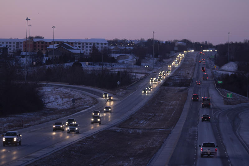 U.S. Highway 69 in Overland Park at dawn, as traffic quickly fills up a highway that clogs nearly every rush hour. (Photo by Scott Canon, Kansas News Service)