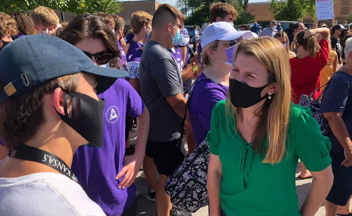 Republican congressional candidate Amanda Adkins attended an August 27 rally outside the Blue Valley School district headquarters. (Photo courtesy of Amanda Adkins for Congress Campaign)