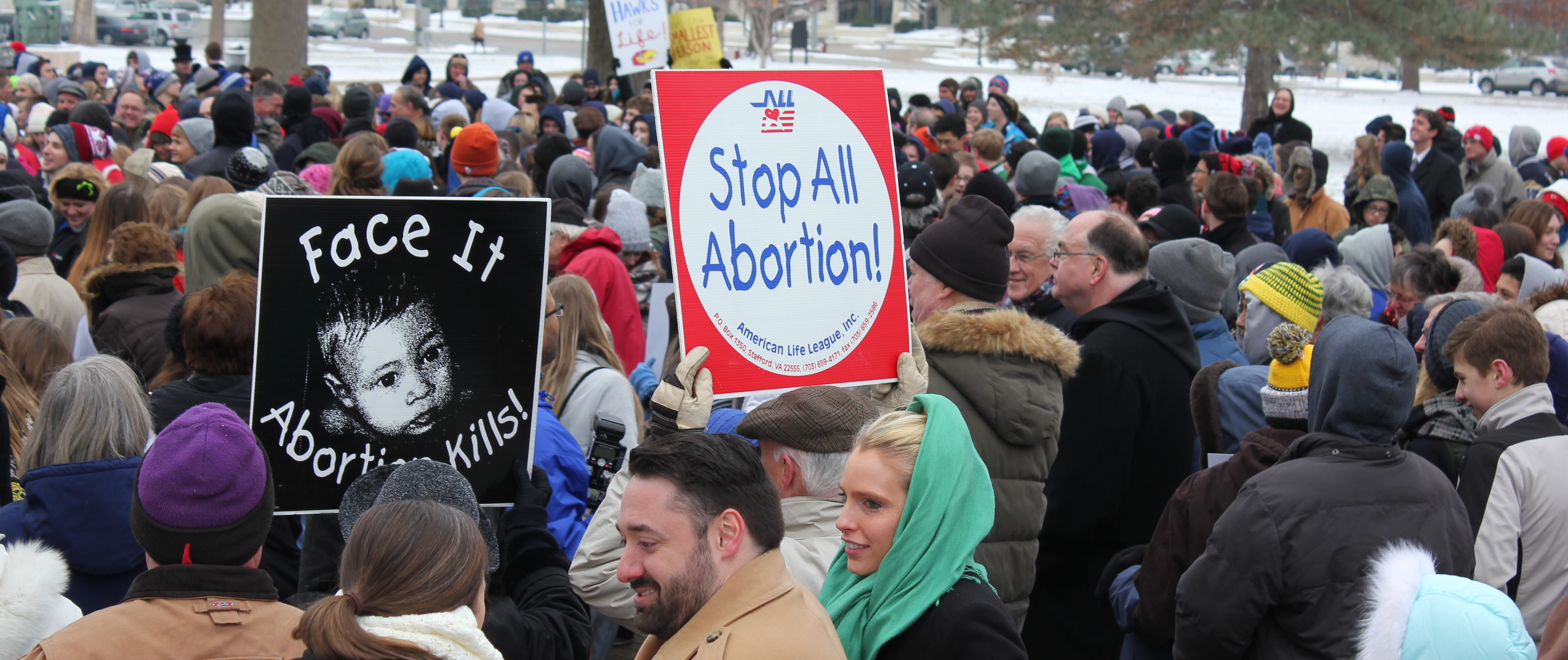 Abortion opponents rally outside the Statehouse Friday. (Photo by Stephen Koranda)