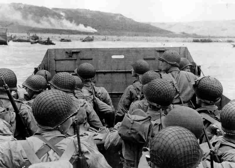 American troops approach Omaha Beach on D-Day, June 6, 1944.