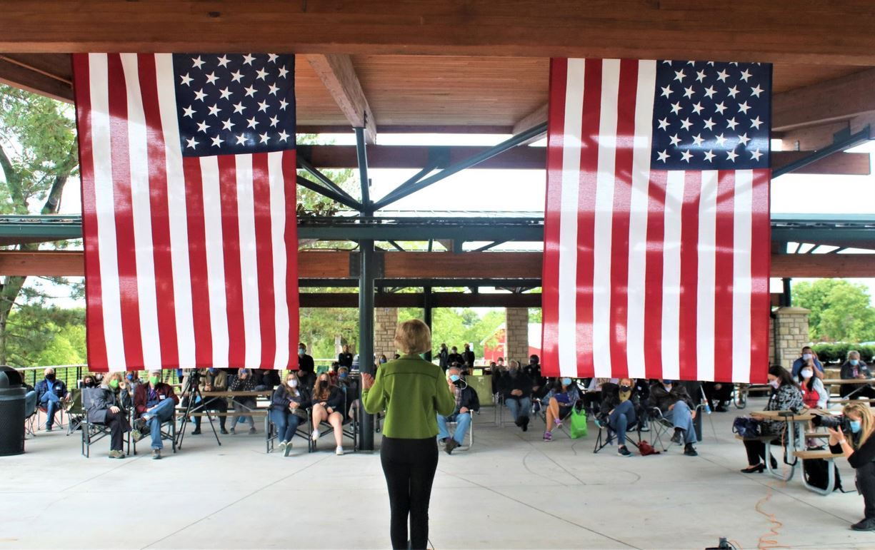 Kansas Democratic U.S. Senate candidate Barbara Bollier spoke recently at an outdoor rally in Lenexa. (Photo by Jim McLean, Kansas News Service)