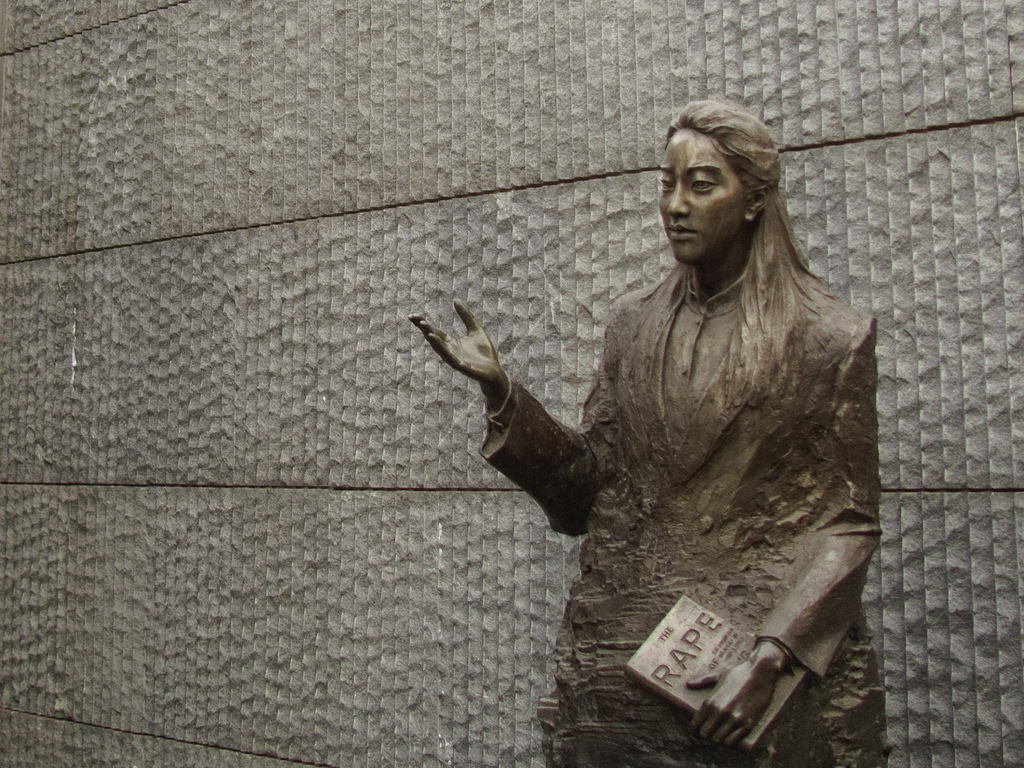 Bronze statue of human rights author Iris Chang at the Nanjing Massacre Memorial in China (Photo from Wikimedia Commons)