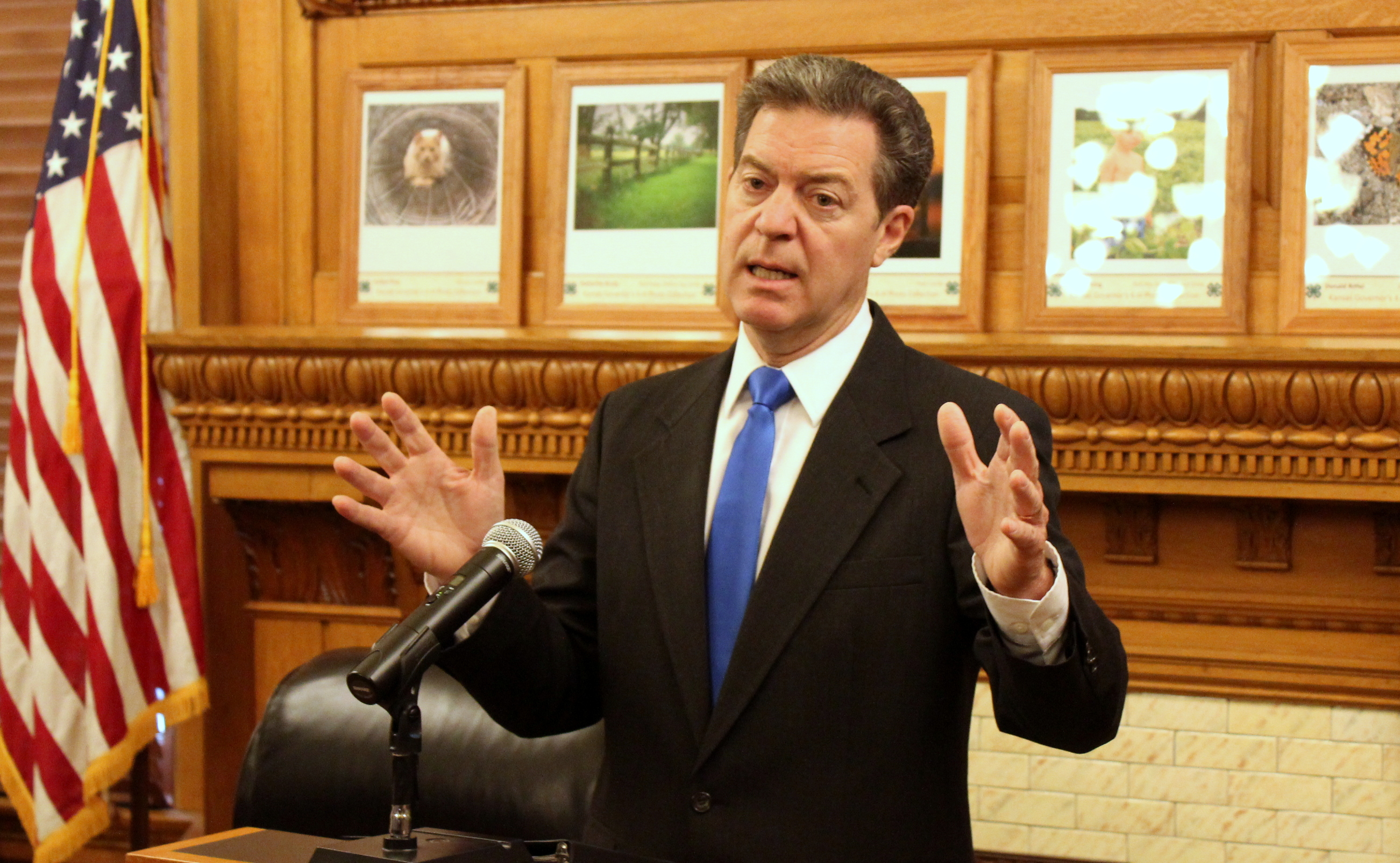 Governor Sam Brownback speaking in his office. (Photo by Stephen Koranda)