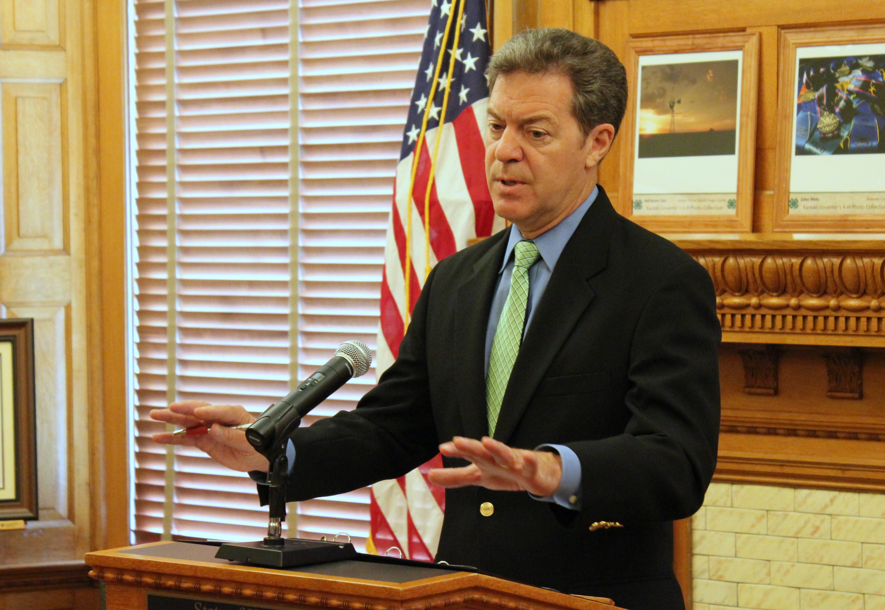 Governor Brownback speaking Friday. (Photo by Stephen Koranda)