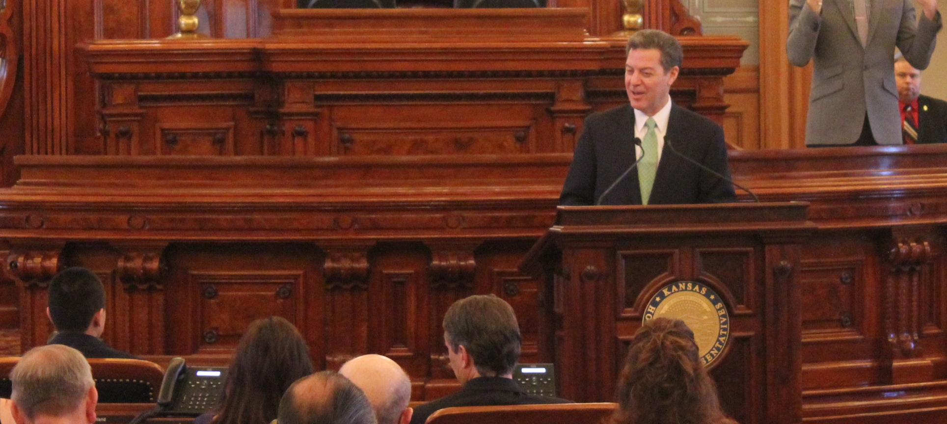 Kansas Governor Sam Brownback at his inauguration ceremonies, January 12, 2015 (Photo by Stephen Koranda)