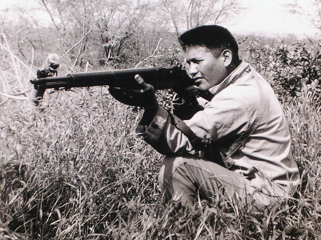 Along with other Native Americans, Navajo Code Talker Chester Nez helped America win the war in the Pacific during World War II.  After the war, he studied at Haskell Indian Nations University in Lawrence.  (Flickr_Fronteras-Desk)
