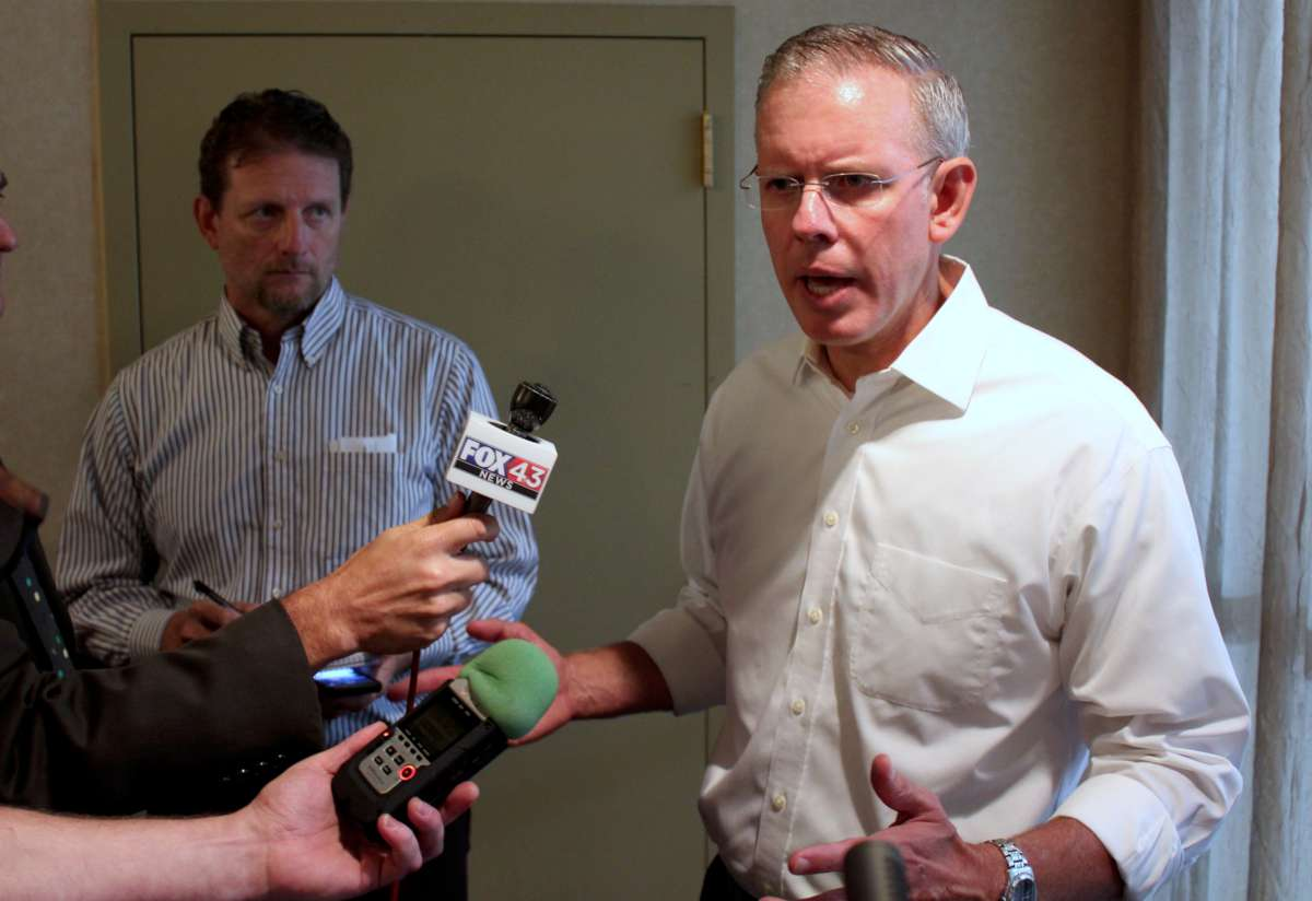 Paul Davis speaking to reporters after the announcement. (Photo by Stephen Koranda)