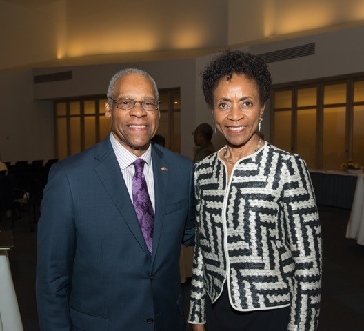 Lewis and KU Chancellor Gray-Little, courtesy of the Kauffman Foundation