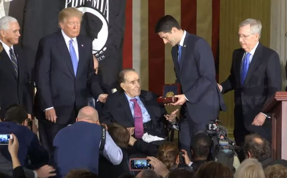 House Speaker Paul Ryan presenting the award to Bob Dole.