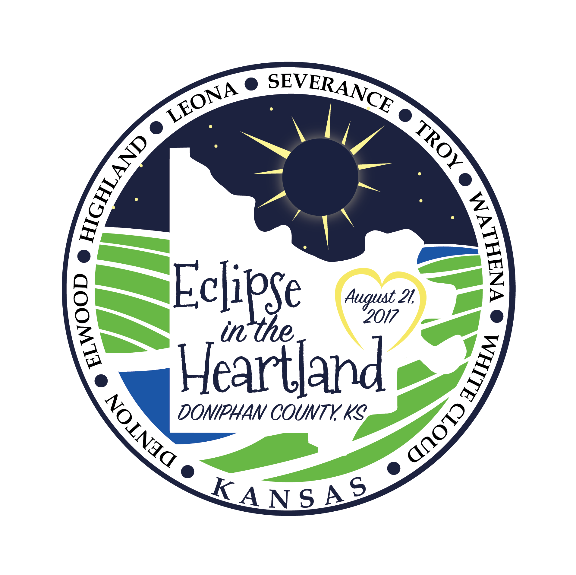 Doniphan County, in extreme northeastern Kansas, is celebrating the total solar eclipse with events and activities on Sunday, August 20 and Monday, August 21 (day of eclipse).