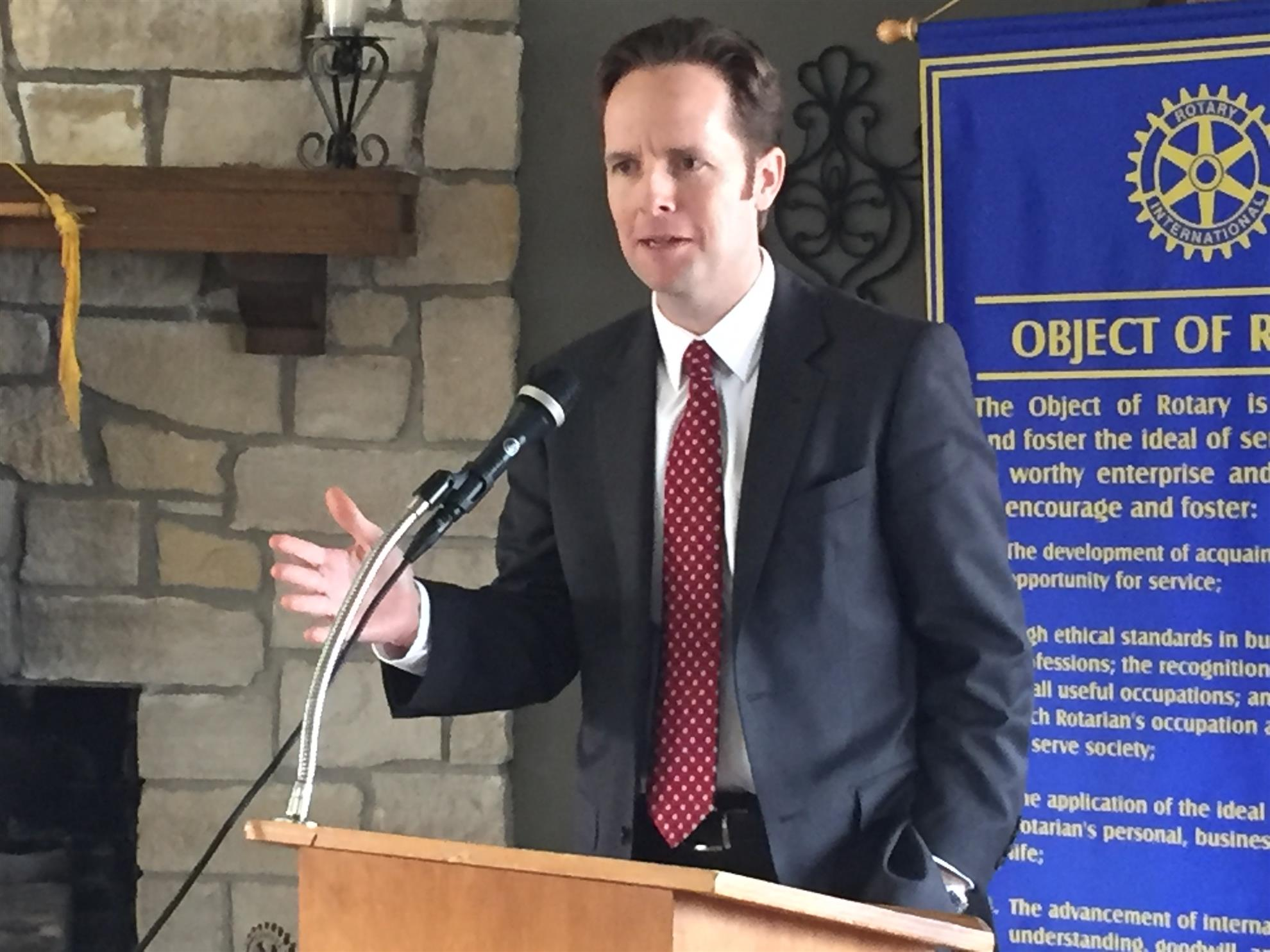 Ed O'Malley speaks to the Emporia Rotart Club in February 2017. (Photo from Emporia Rotary Club)