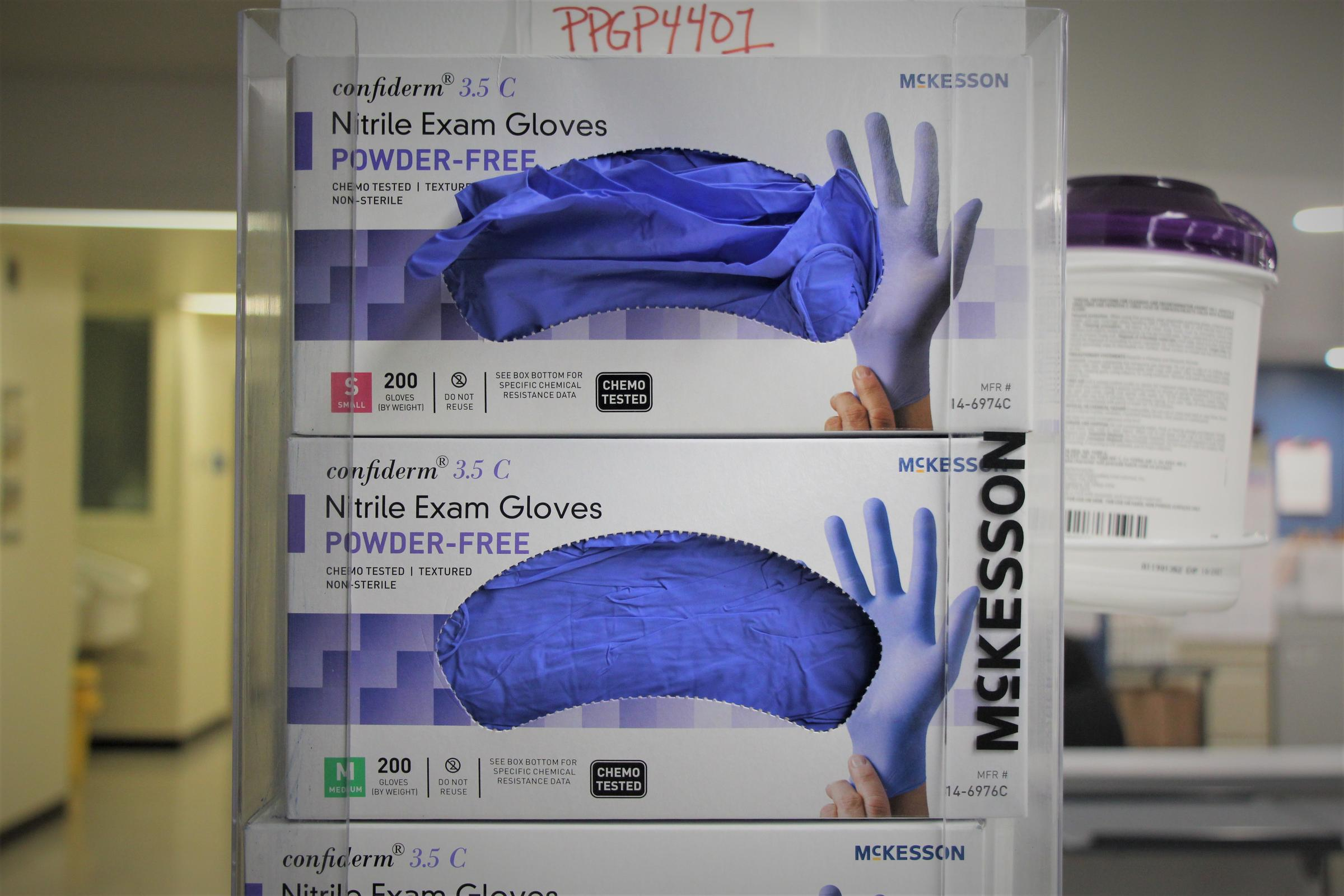 Nitrile gloves are among protective gear in short supply. (Photo by Celia Llopis-Jepsen, Kansas News Service)
