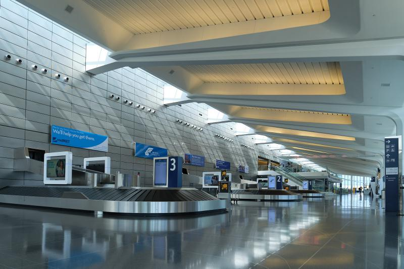 The terminal at Dwight D. Eisenhower Airport in Wichita sits mostly empty as travel decreased due to the pandemic. (Photo by Brian Grimmett, Kansas News Service)