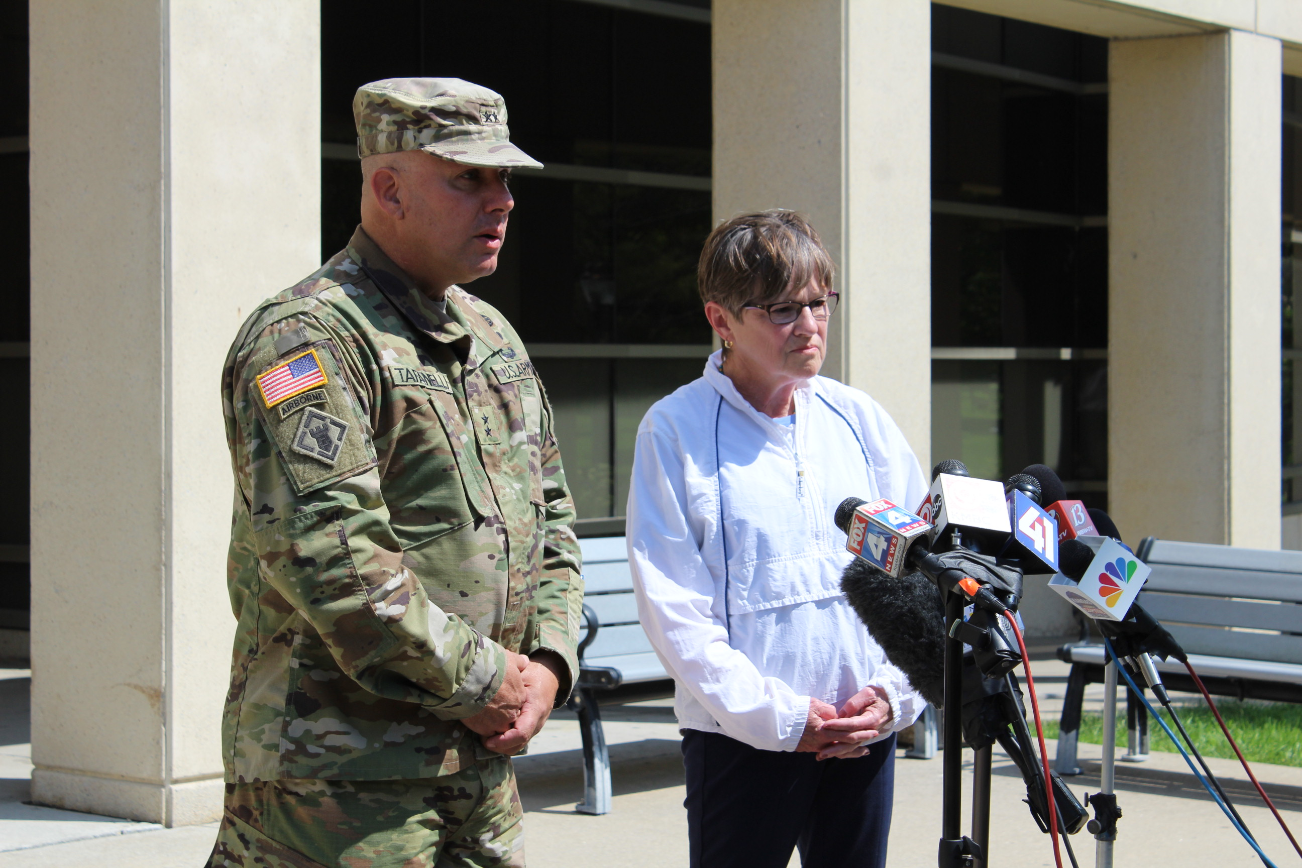 State Emergency Management Director, Major General Lee Tafanelli and Kansas Governor Laura Kelly speak to reporters after taking an aerial tour of Tuesday's tornado damage in northeast Kansas. (Photo by J. Schafer)