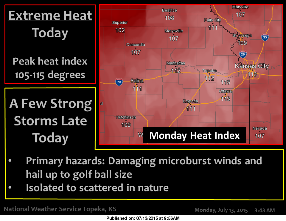 Heat advisories and heat warnings are in place for much of the KPR listening area. (Image credit: National Weather Service/Topeka)