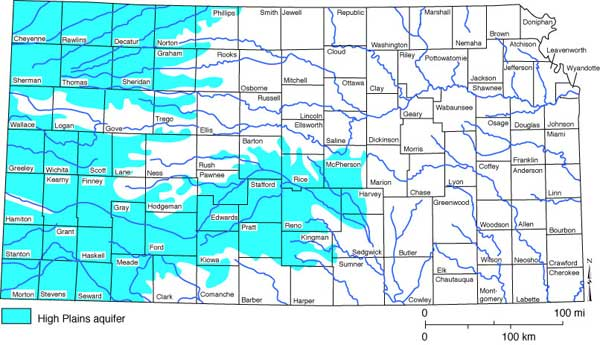 The Ogallala Aquifer is part of the High Plains Aquifer System, depicted on this map from the Kansas Geological Survey.