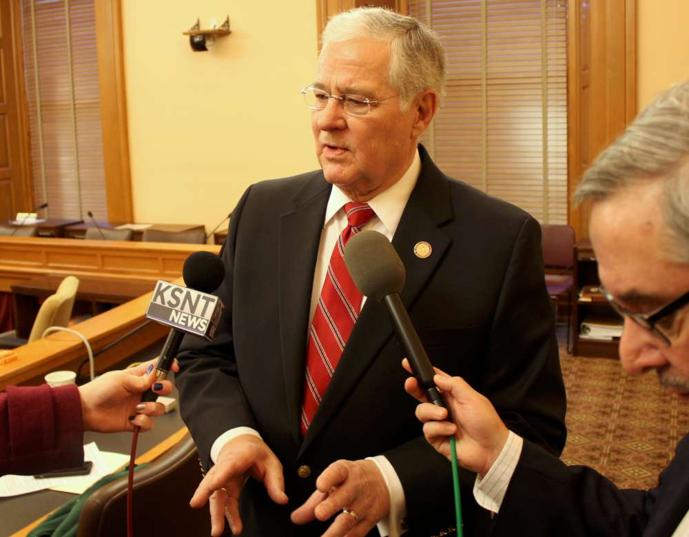 Representative Ron Highland speaking to reporters after the meeting. (Photo by Stephen Koranda)