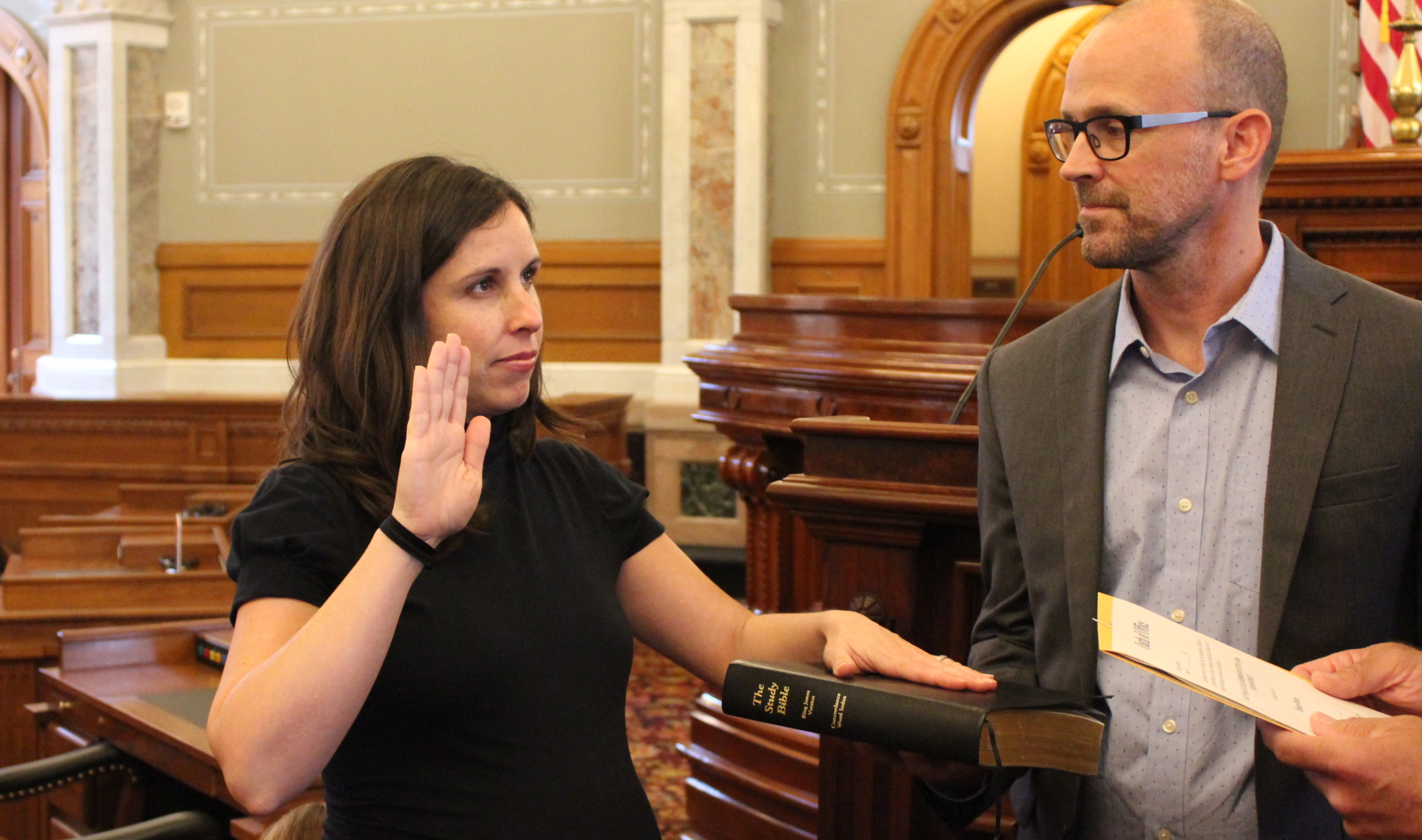 Representative Horn during the swearing-in ceremony. (Photo by Stephen Koranda)