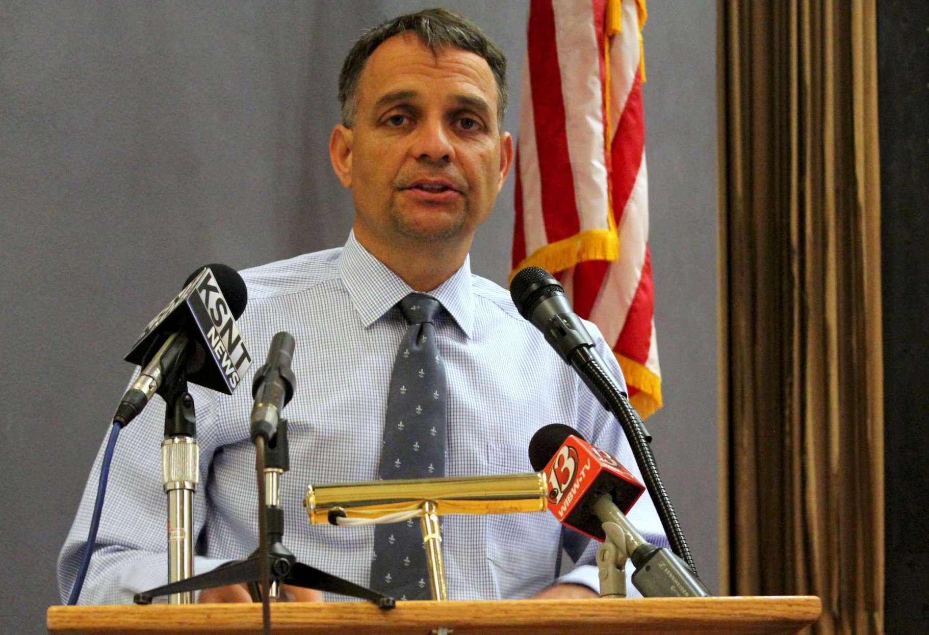 Shawnee County Election Commissioner Andrew Howell speaking at a hearing earlier this year. (Photo by Stephen Korada)
