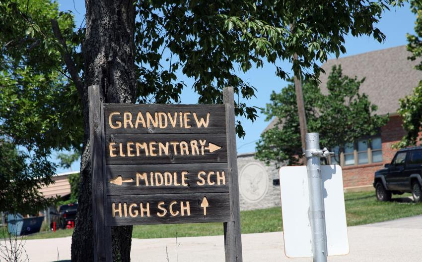 Grandview elementary, middle and high schools occupy the same campus in a rural area of Jefferson County. (Photo: Kristofor Husted, Harvest Public Media)