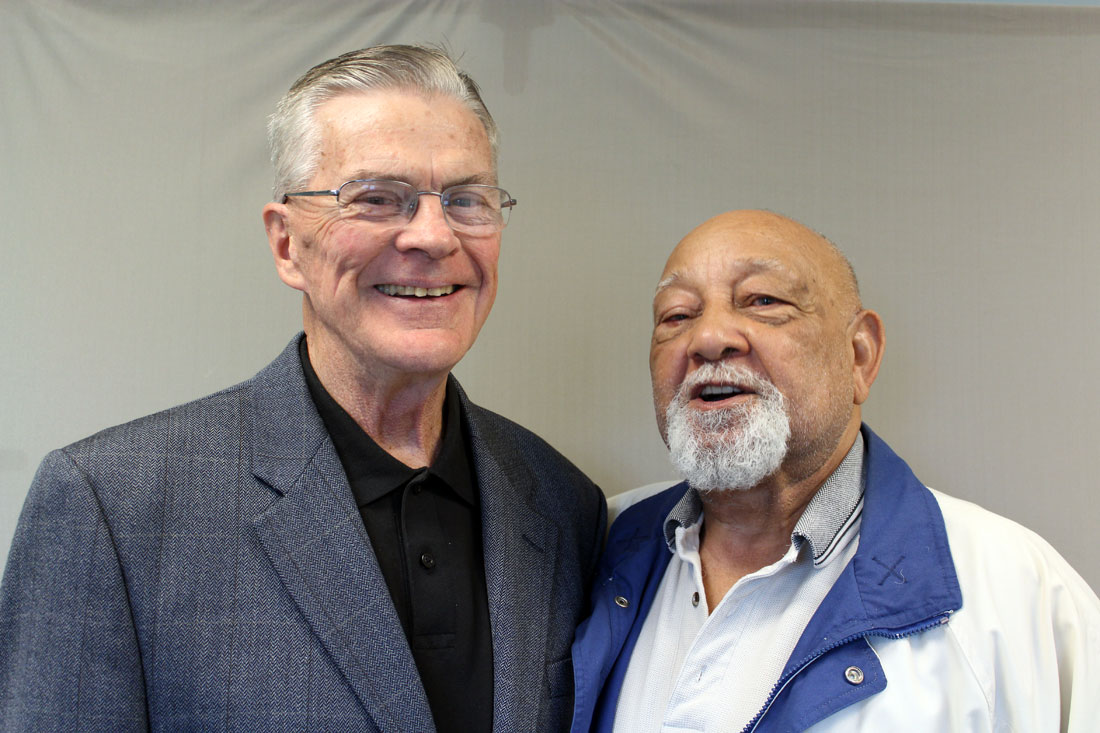 Bill Bunten (left) and Jack Alexander talk about attending school, playing basketball and serving in the military during the time of legal segregation and after segregation legally ended.