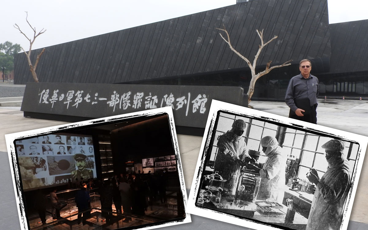 "Emporia State University Professor John Richard Schrock, who lectures on biology in China, stands outside the ""Unit 731 Museum"" in Harbin, China."