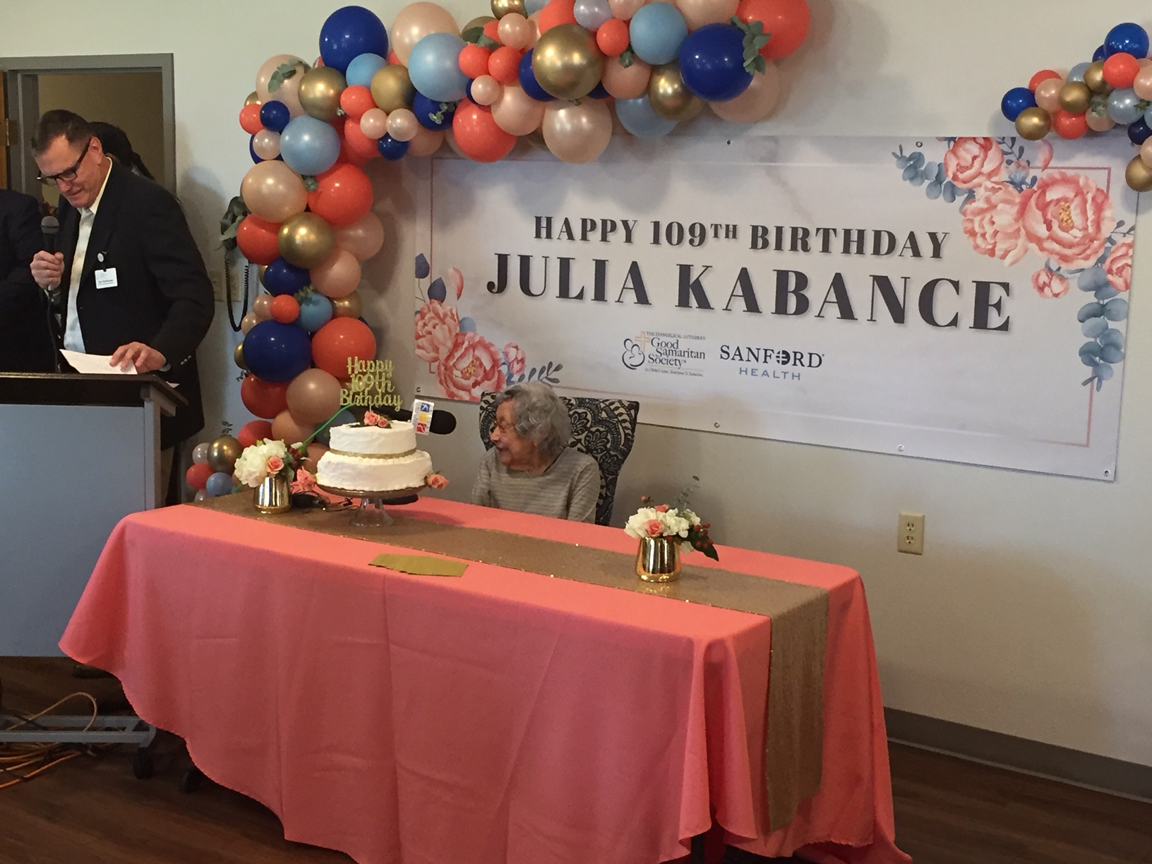 Native American and World War II veteran Julia Kabance at her brithday celebration August 9, 2019, in Wamego. (Photo by J. Schafer)