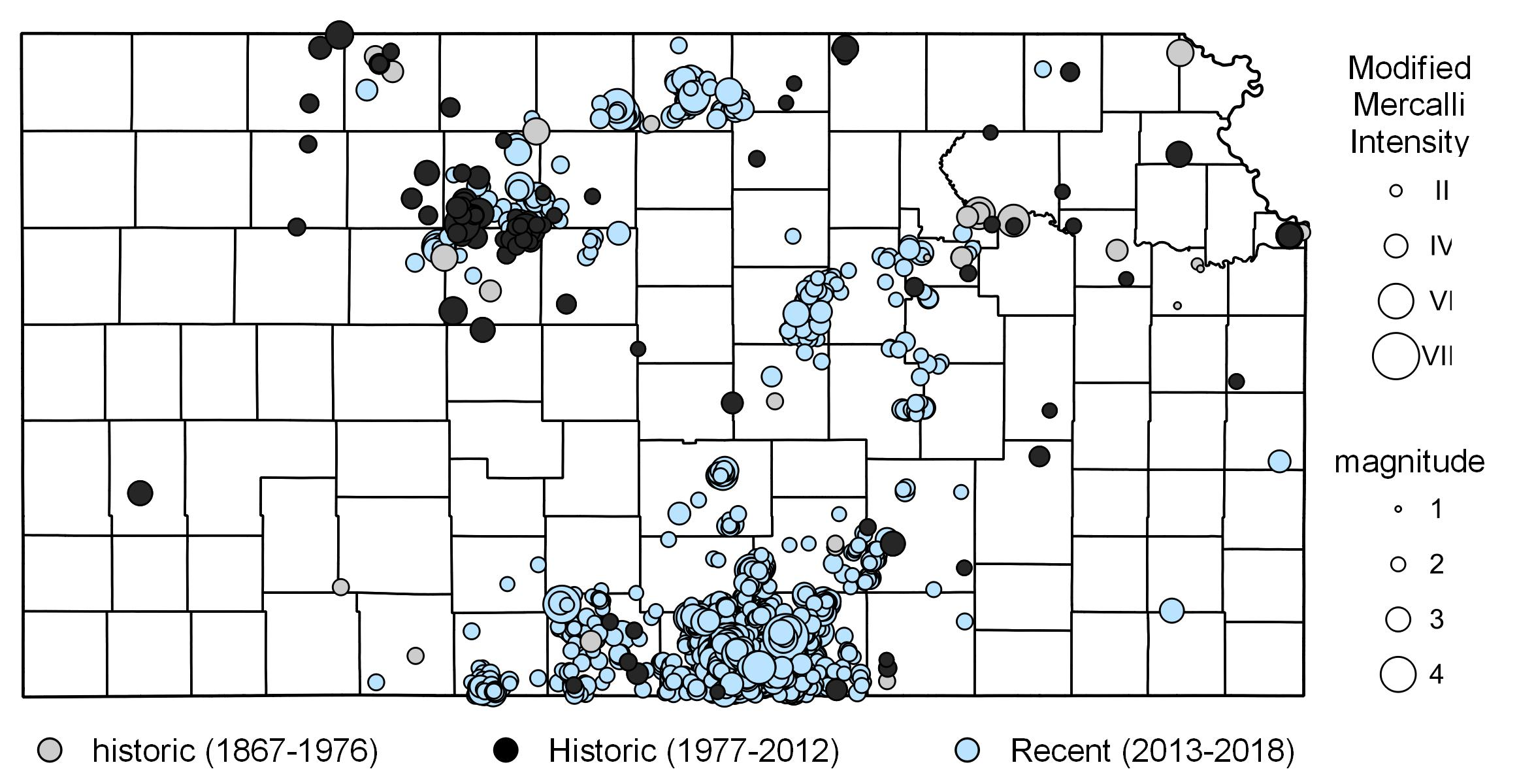 An overview of Kansas earthquakes, 1867-2018 (Image credit: Kansas Geological Survey)