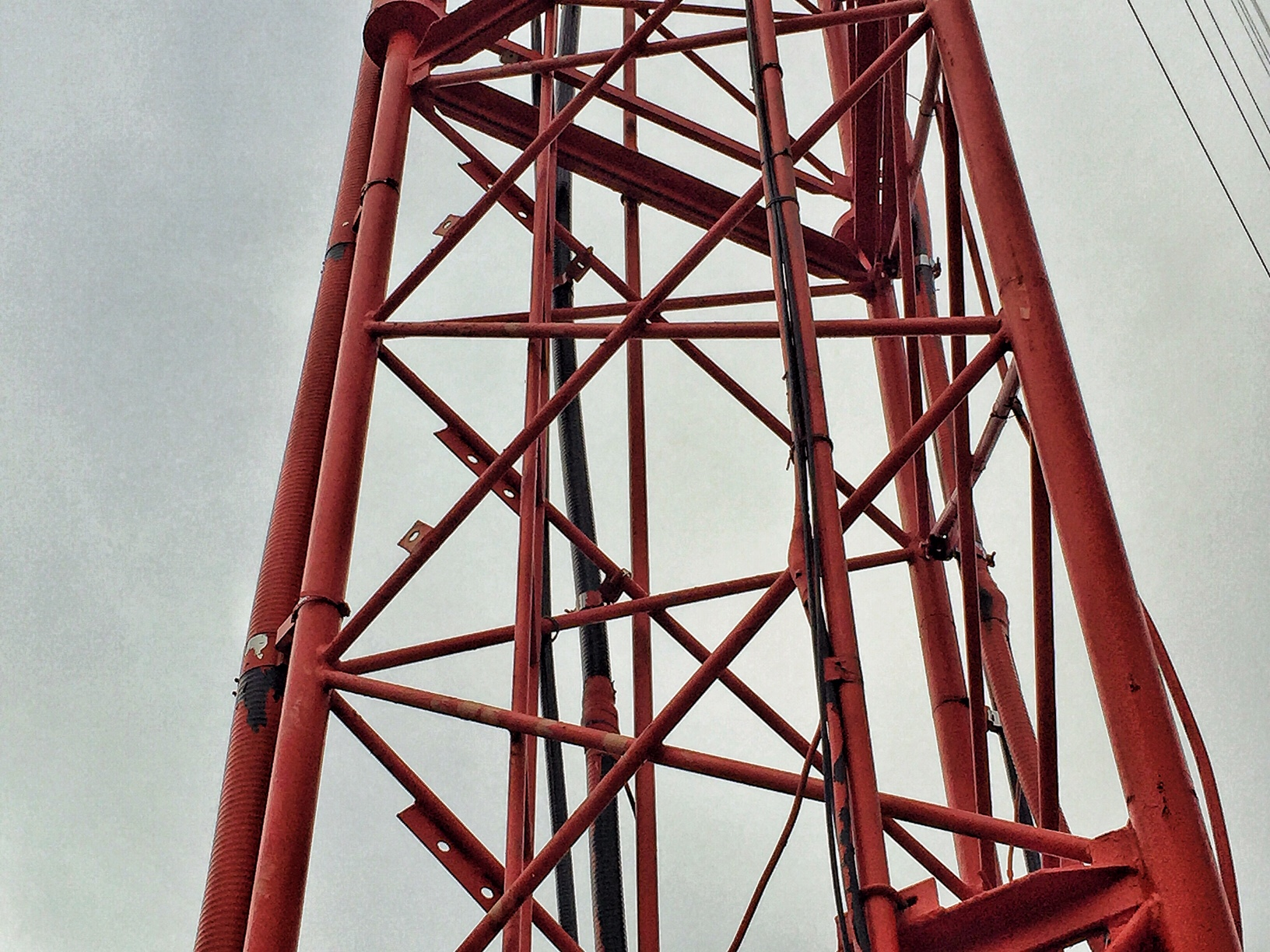 Section of Kansas Public Radio's transmitter tower in Lawrence (KANU FM) on KU's west campus.  (Photo by J. Schafer)