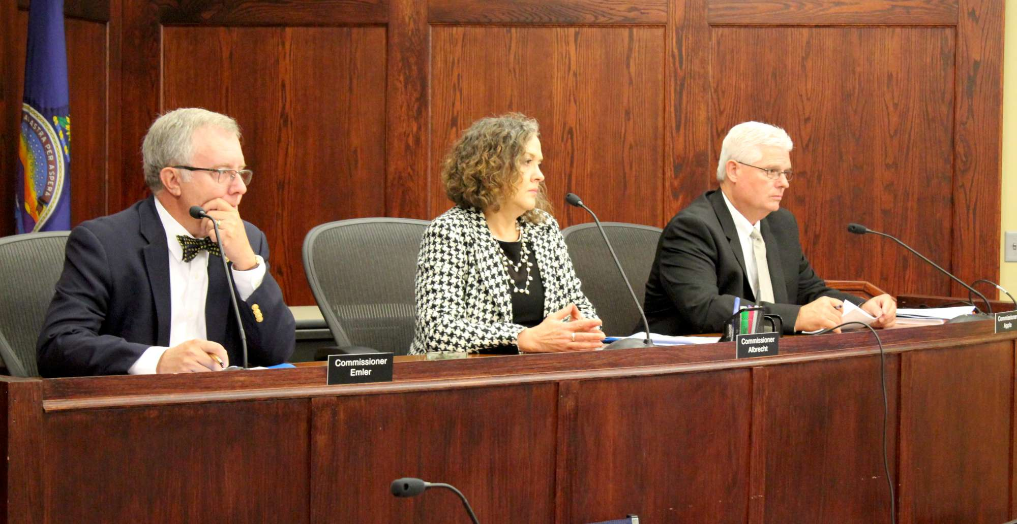 KCC commissioners during the meeting to approve the rate increase. (Photo by Stephen Koranda)