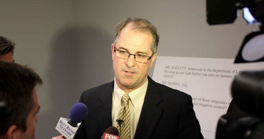 Kline speaking to reporters in 2012. (Photo by Stephen Koranda)