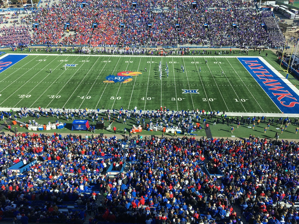 KU Jayhawks on the field at David Booth Memorial Stadium in Lawrence