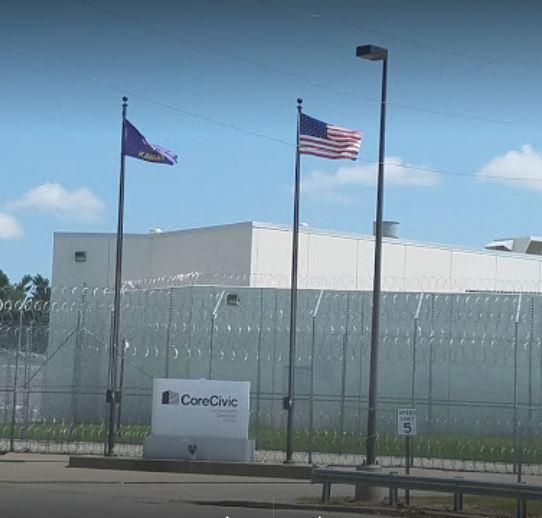 The Leavenworth Detention Center is owned and operated by CoreCivic Inc., formerly known as Corrections Corporation of America. (photo credit: Dan Margolies / KCUR 89.3 FM)