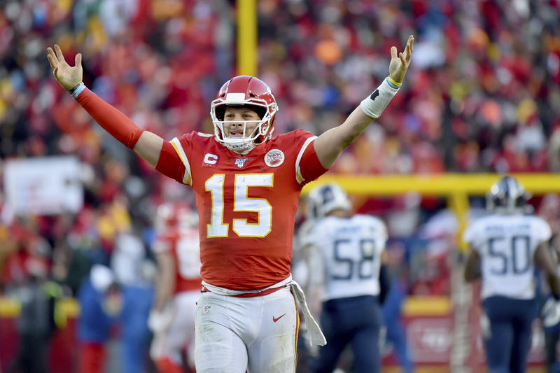 Quarterback Patrick Mahomes passed for three touchdowns and ran for another as the Kansas City Chiefs captured the AFC Championship Sunday in Kansas City.  The victory sends the Chiefs to the Super Bowl for the first time in a half century. (Photo by Ed Zurga / AP)