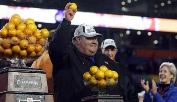 Former KU Football Coach Mark Mangino at the Orange Bowl in 2008.  Former Kansas Governor Kathleen Sebelius is pictured looking on, in the lower right.  (Photo from the Topeka Capital-Journal)