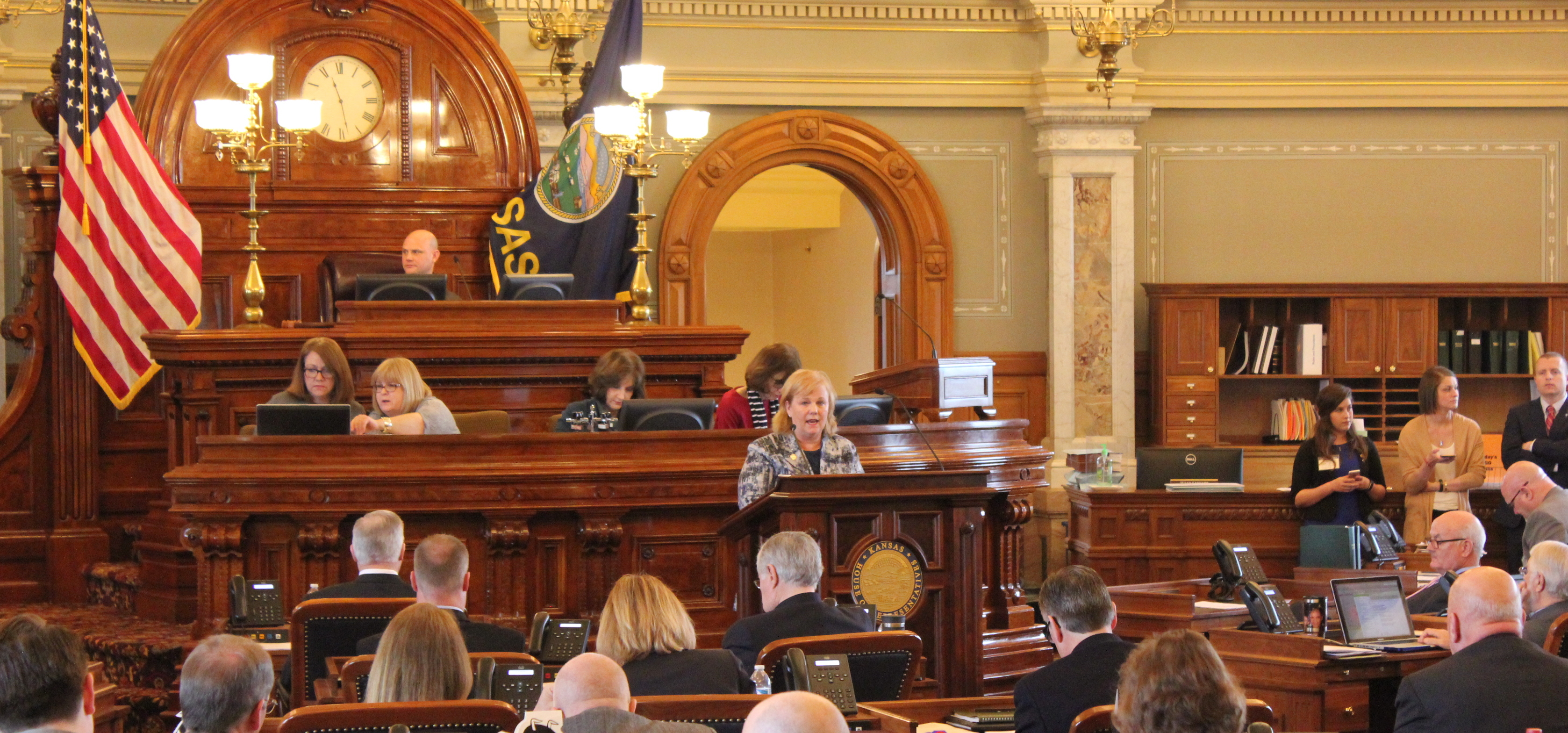 Republican Susan Concannon speaking in the House chamber Monday. (Photo by Stephen Koranda)