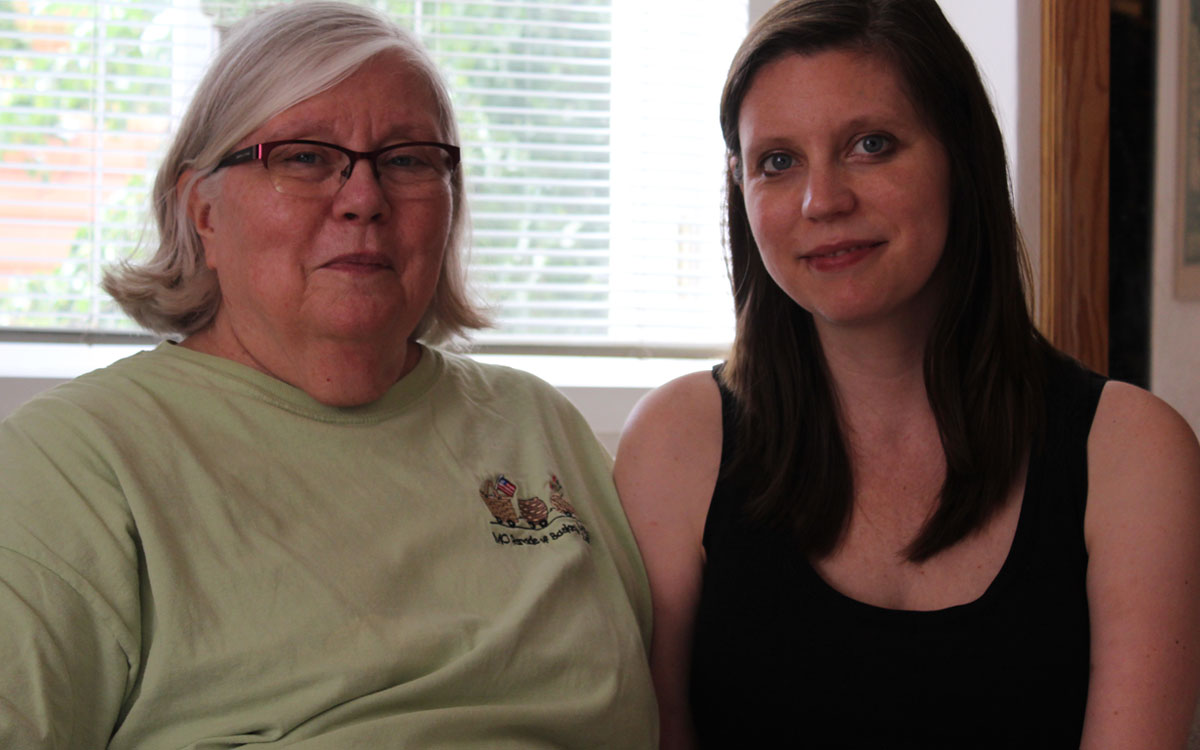 Vicki Arnett, President of the Topeka and Shawnee County League of Women Voters, and her daughter, Emily Thompson, a freelance writer. The two spoke about Arnett's activism in Hutchinson in the 1970s, where she helped start a group called Feminist Forum, Women for Human Rights.