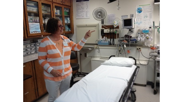 Minneola Healthcare Administrator Debbie Bruner, in the Minneola Hospital emergency room (photo by Bryan Thompson)