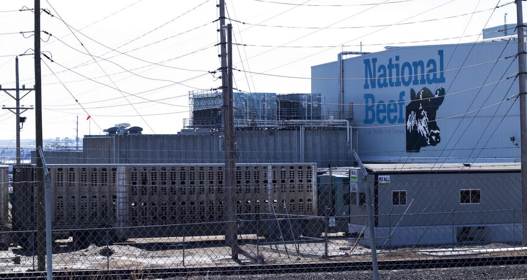 The National Beef plant in Dodge City is one of the state's large meatpacking facilities. (Photo by Bethany Wood, Kansas News Service)