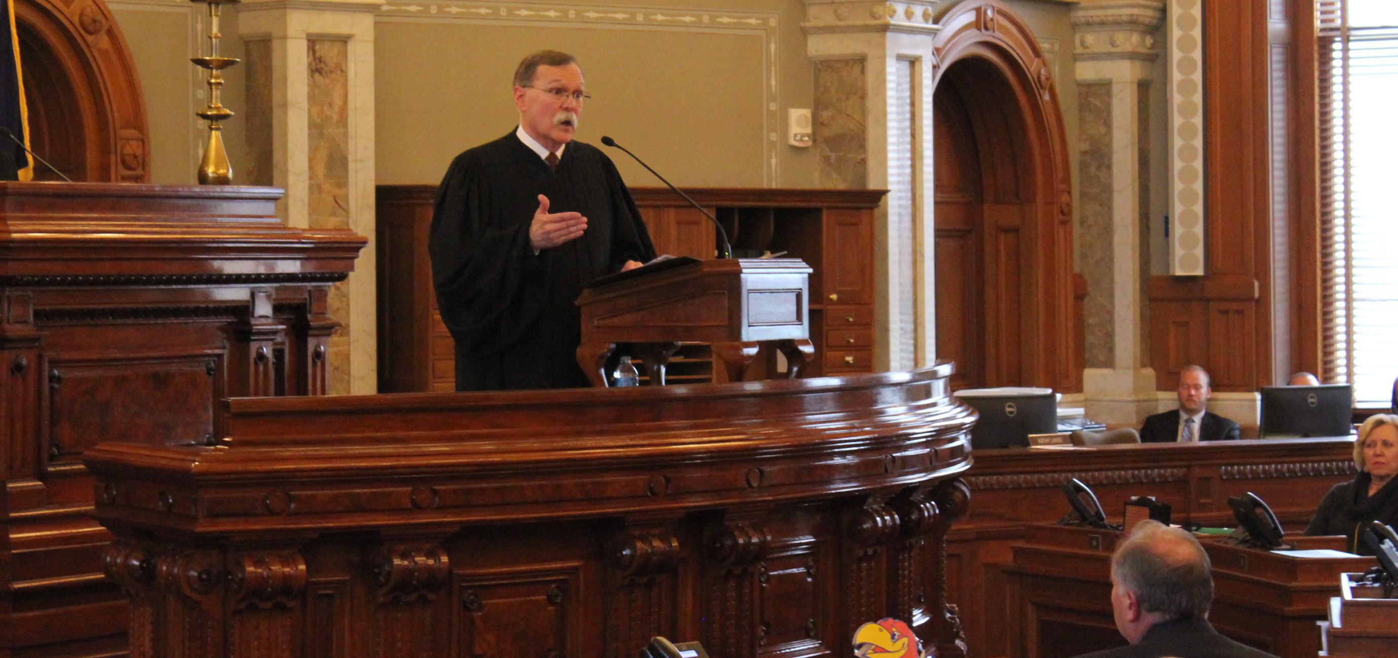 Chief Justice Lawton Nuss speaking to lawmakers Wednesday. (Photo by Stephen Koranda)