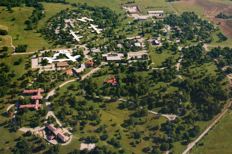 Federal officials have halted Medicare payments to Osawatomie State Hospital, citing security concerns in the wake of a reported rape of a hospital employee in October. This aerial photo shows the hospital campus. (Photo by KHI News)